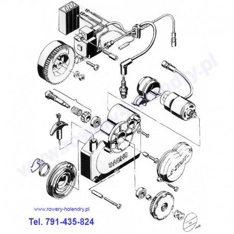 Schemat szarpaka (elektrostart) - rower z silnikiem Sachs 301A