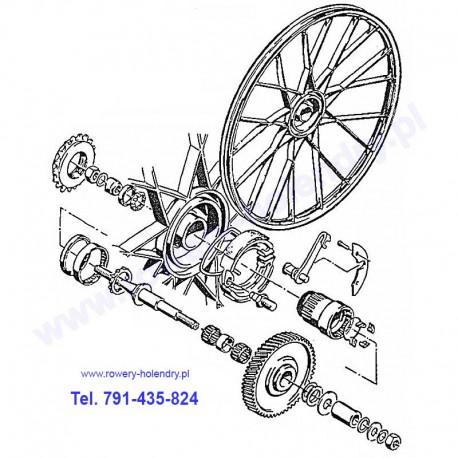 Schemat przekładni napędu - rower z silnikiem Sachs 301A
