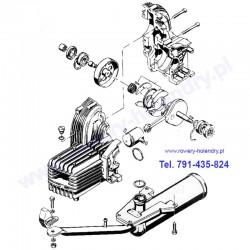 Schemat sprzęgła, tłoka i tłumika - rower z silnikiem Sachs 301A